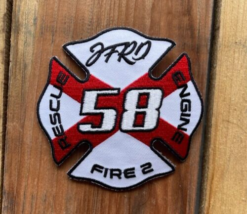 """Jacksonville Fire Rescue Station 58 retired logo sew on patch, 4""""x4"""""""
