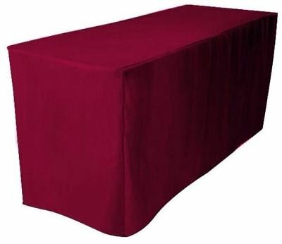 4 Ft. Fitted Polyester Table Cover Trade Show Booth Banquet Tablecloth Burgundy