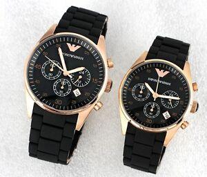 BRAND-NEW-EA-Emporio-Armani-Mens-Watch-AR5905-Womens-Watch-AR5906-Gold-Black