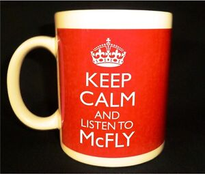 NEW KEEP CALM AND LISTEN TO McFLY GIFT MUG CARRY ON COOL BRITANNIA RETRO