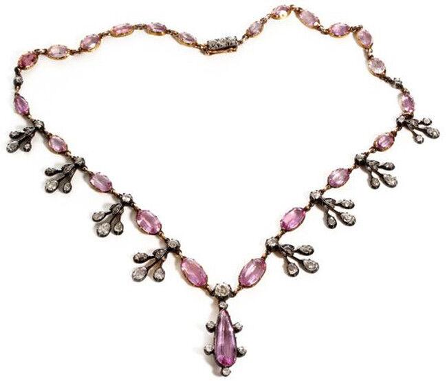 4.35ct Rose Cut Diamond Antique Look 925 Silver Tourmaline Gemstone Necklace