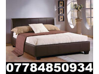 BED BRAND NEW DOUBLE LEATHER BED AND MATTRESS 2538