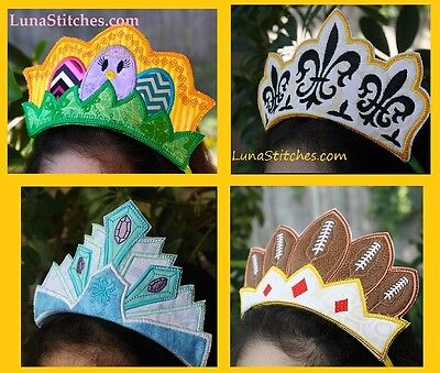 ITH In The Hoop Princess Crowns Applique Embroidery Designs Project Halloween - Halloween Appliques Designs