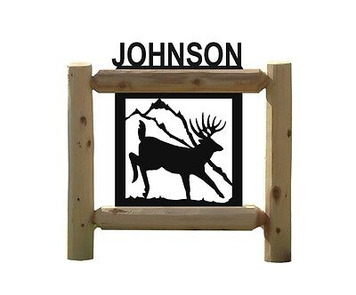 PERSONALIZED WHITETAIL DEER SIGN - CLINGERMANS LOG SIGNS - WILDLIFE ART
