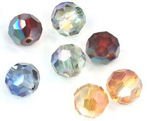 68x-8mm-Sfaccettato-Rotondo-Cristallo-Perle-Vetro-Topazio-Rame-Argento