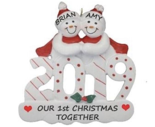 Personalized 2019 Snowman Couple Family of 2 Christmas Ornament