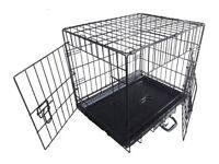 Medium double door dog cage / crate black