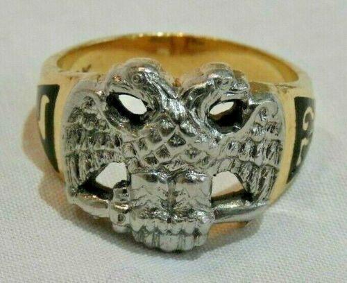 14K Yellow & White Gold 32nd Degree Double Headed Eagle Masonic Ring Size 9