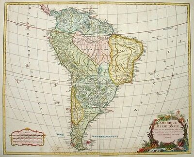 1750 SUD AMERICA South America * VAUGONDY 48 x 58cm STUNNING ORIGINAL