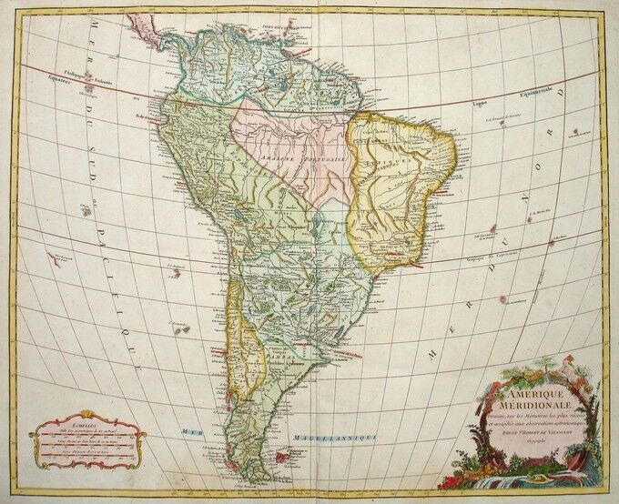 1750 SUD AMERICA South America * VAUGONDY 48 x 58cm STUNNING ORIGINAL