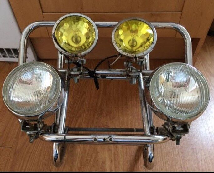 Lambretta vespa scooter front carrier rack with lights spotlights