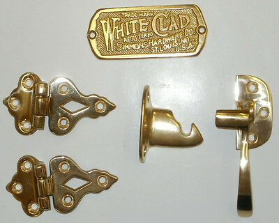 White Clad Ice Box Polished Brass Plaque/ Right Hand Latch/ Hinges
