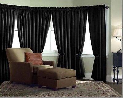Velvet Curtain Panel Drape 5W x 7H Black Home Theater Energy Efficient - Velvet Panel
