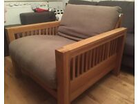 Lovely single seat Solid Oak sofa bed armchair by Futon Company!