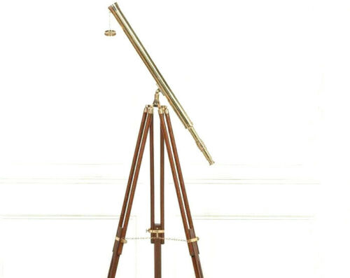 Brass Antique Telescope Ornament on Black Wooden Tripod Stand FUNCTIONAL Gift