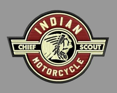 """Indian Motorcycle Chief Scout Embroidered Patch ~4-1/2"""" x 3-1/4"""" V2 Four Vintage"""