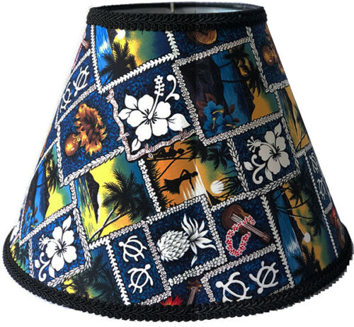 """Hawaiian Lamp Shade Cotton 9""""Hx13""""D Hawaii Icons Handcrafted SPIDER HARP Fitter"""