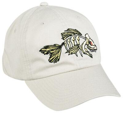 BON-005 Adult Adjustable White Fishing Hat Dead Fish Skeleton Bonefish Cap - Dead Fish Hat