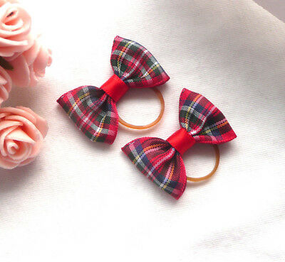 2 X Hair Bows Accessories For Dogs Cat Puppy Hair Bands Knot Grooming Rubber UK