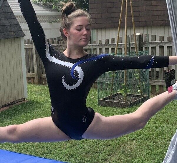 GK Elite size AM Competition gymnastics leotard CRYSTALS Adult Medium black blue