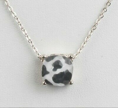 NECKLACE COW PATTERN CUSHION CUT ANIMAL PRINT 17 INCH LONG - $14.59