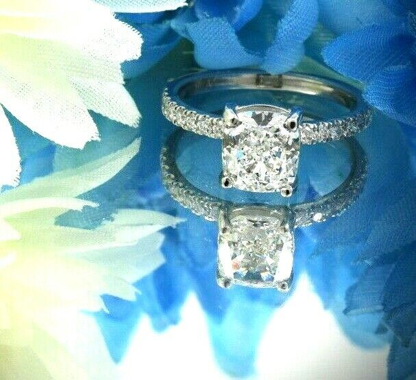 GIA Certified Diamond Engagement Ring 2.45 carat Cushion Shape Platinum