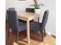 6 dining chairs (ikea boardroom chairs with blue covers)