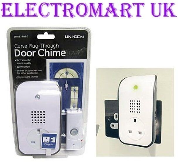 WIRELESS CORDLESS PLUG IN PLUG THROUGH DOOR BELL 8 SELECTABLE CHIMES 120M RANGE