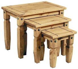 CORONA MEXICAN PINE 3PC NESTING TABLES