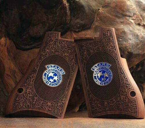 Desert Eagle grips made of walnut wood with silver Resident Evil Design.