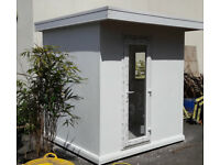 Insulated Garden Office Room with 100mm Kingspan Walls, PVC Window, Door & Solar Reflective Roof.
