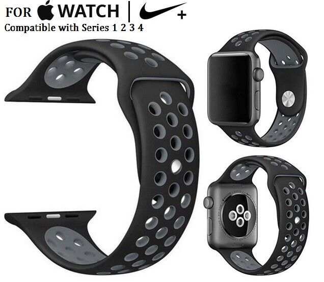 Black/Grey Sports Silicone Band for Apple Watch Nike+ Series 1 2 3 4 38mm Jewelry & Watches