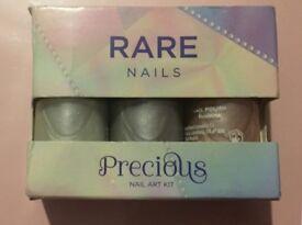 Rare Precious nail art kit set of 3 nail polish shades & tattoo design nail transfers Christmas Gift