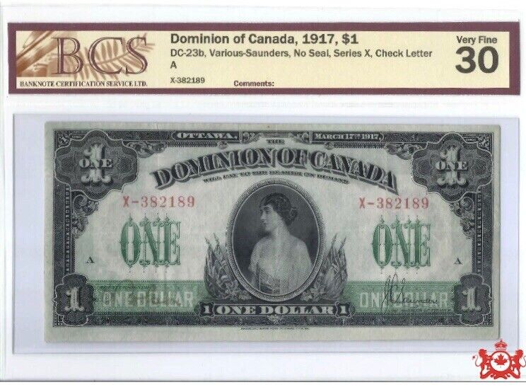 1917 Dominion Of Montreal 1$ X- 382189 - BCS VF30 -