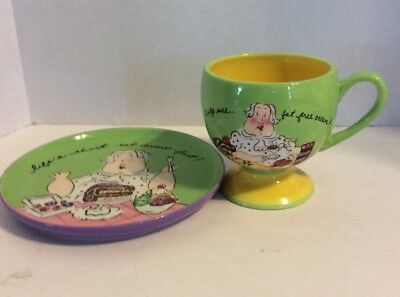 Mud Pie Dessert - Mud Pie Coffe Cup Dessert Plate Set Life's Short Eat Dessert First Set #1