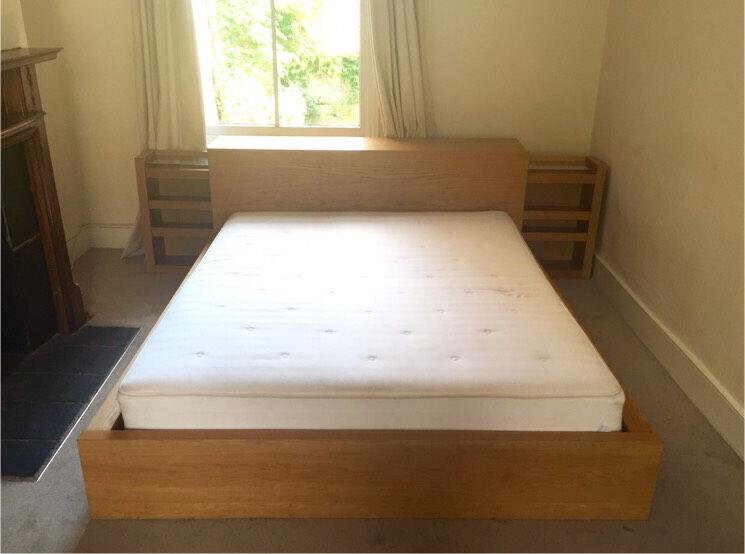 IKEA Malm King Size Double Bed, Headboard Storage Unit U0026 Mattress