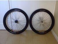Pair of Mavic 317 disc wheels/tyres/cassette