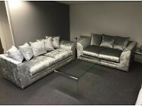 SALE New couch 3 + 2 seater crushed velvet