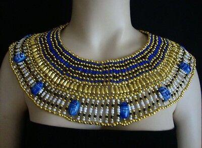 Ancient Egyptian Queen Cleopatra Beaded Collar Necklace 9 Blue Scarabs Halloween