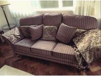 3seat settee and armchair and footstools