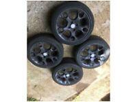 """17"""" genuine Ford Fiesta snowflake alloy wheels alloys with tyres Mk7 6 8 titanium black"""