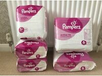Pampers Active Fit nappies 87 x size 5+ and 64 x size 6