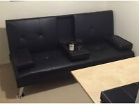 Black 3-Seater Sofa Bed