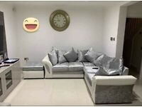 == ROYAL FURNISHING'S BRAND NEW SHANNON LEATHER CRUSHED VELVET CORNER OR 3+2 SOFA SET ==