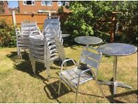 12 metal garden chairs & 3 tables for sale