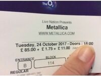 Metallica O2 Tue 24th Bk 114 Lower tier EXCELLENT view/seat SOLD OUT!!