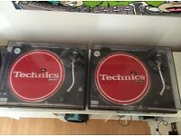 Pair technics 1210 decks turntables with Ortofon carts and Numark M4 mixer DJ Setup