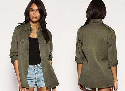 LADIES WOMENS NEW MILITARY JACKET VINTAGE ARMY F2 SHIRT ★ 6 8 10 ...