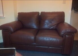 3&2 brown leather sofa