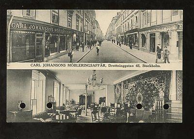 ADVERTISING SWEDEN 1917 PPC STREET + CARL JOHANSONS INTERIORS